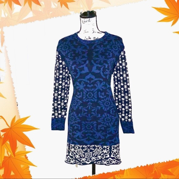 Gypsy 05 Dresses & Skirts - Holiday Snowflake Sweater Dress Blue, Navy, Gray